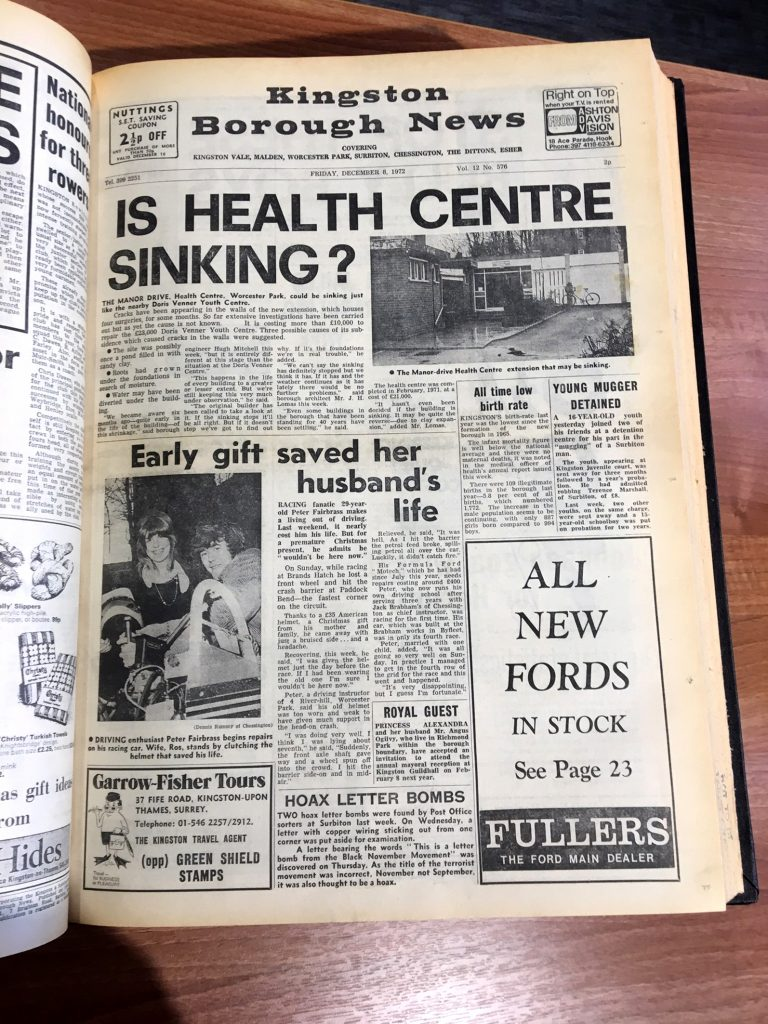 The now-defunct Kingston Borough News, which Noel launched as the Surbiton News 60 years ago