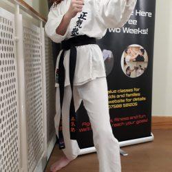 A family karate class