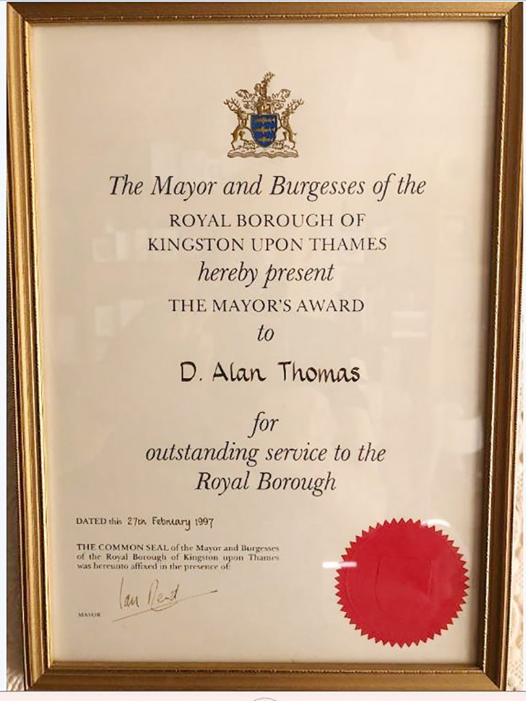 The citation for his Mayor's Award