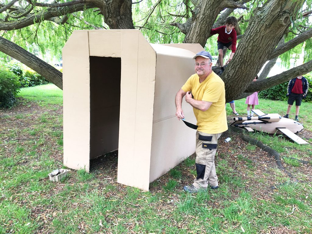 Neighbour Neil Parsons builds a model Anderson shelter