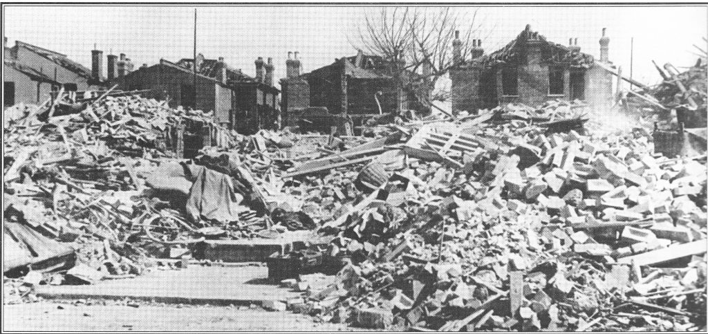The aftermath of the 1944 destruction which killed 12 in Tolworth Park Road