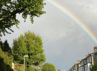 Rainbow appears over Surbiton town centre for Clap for Carers