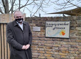 Memorial plaque and mosaic commemorates Frances Moseley